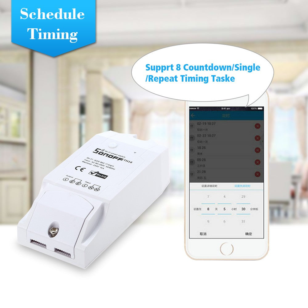 TH16 16A/3500W Smart Wifi Switch Monitoring  Humidity Wireless  Amazon Alexa and for Google Home/Nest