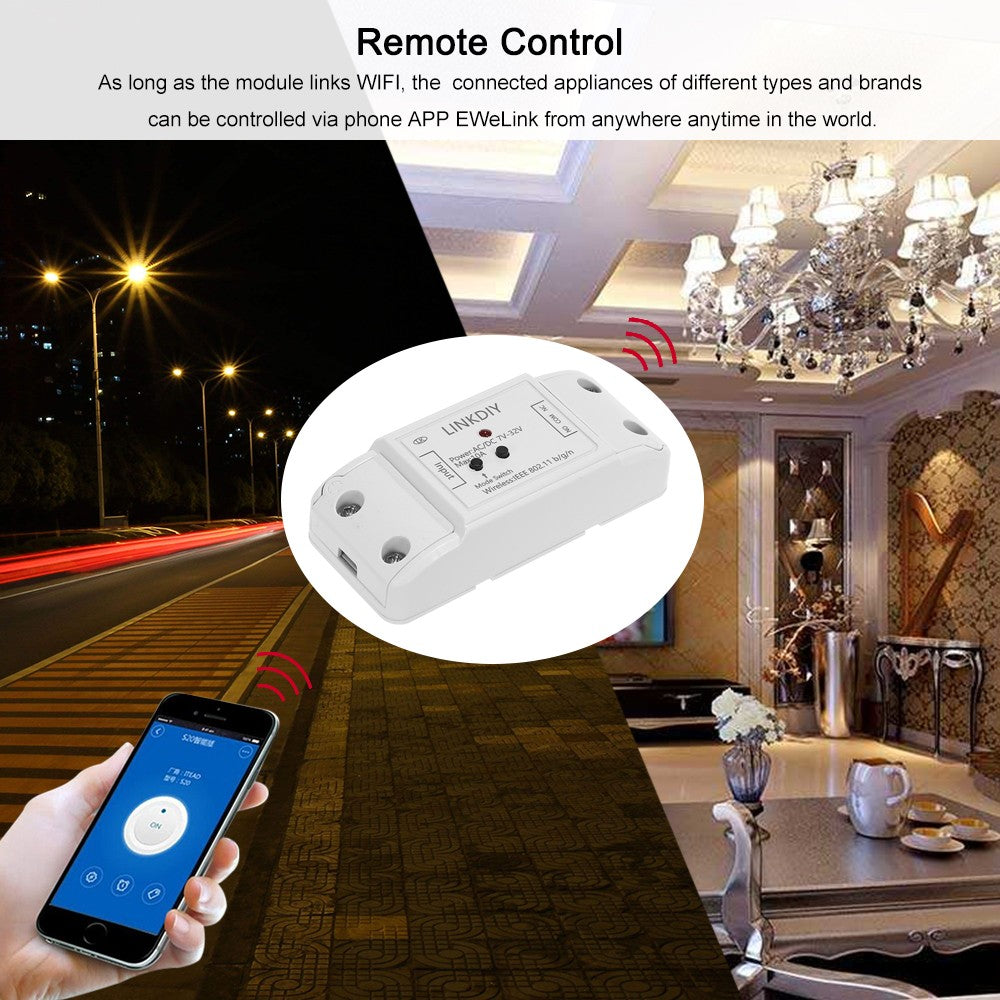 "Sonoff Smart Wifi Switch 1CH DC/AC7-32V Wireless Switch Control Compatible with ""Amazon"" Alexa Google Home"