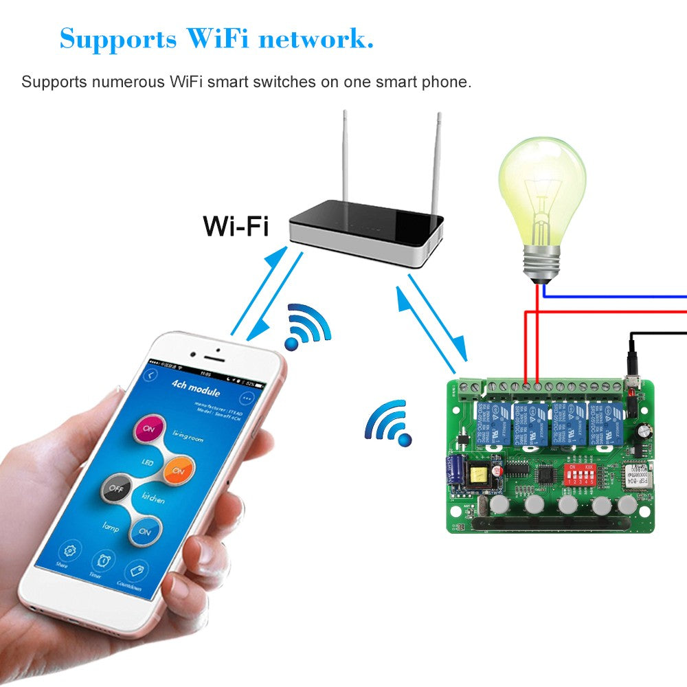 Smart Remote Control Wireless Switch Universal Module 4ch DC 5V Wifi  Compatible with Amazon Alexa Google Home