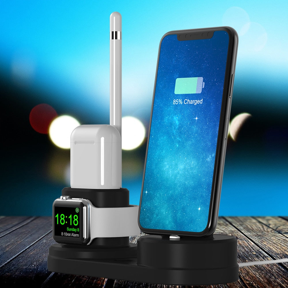4 in 1 Multi Charging Dock Stand Docking Station Charger Holder for iPhone Watch for Mobile Phone For airpo 4 in 1