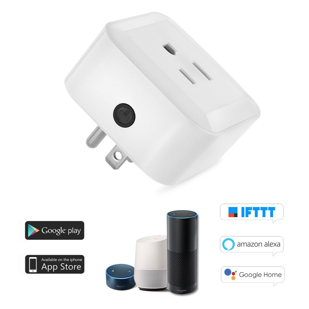 Mini Wifi Smart Plug with On/Off Switch Control Anywhere and Anytime Amazon Alexa for Google Home/Nest