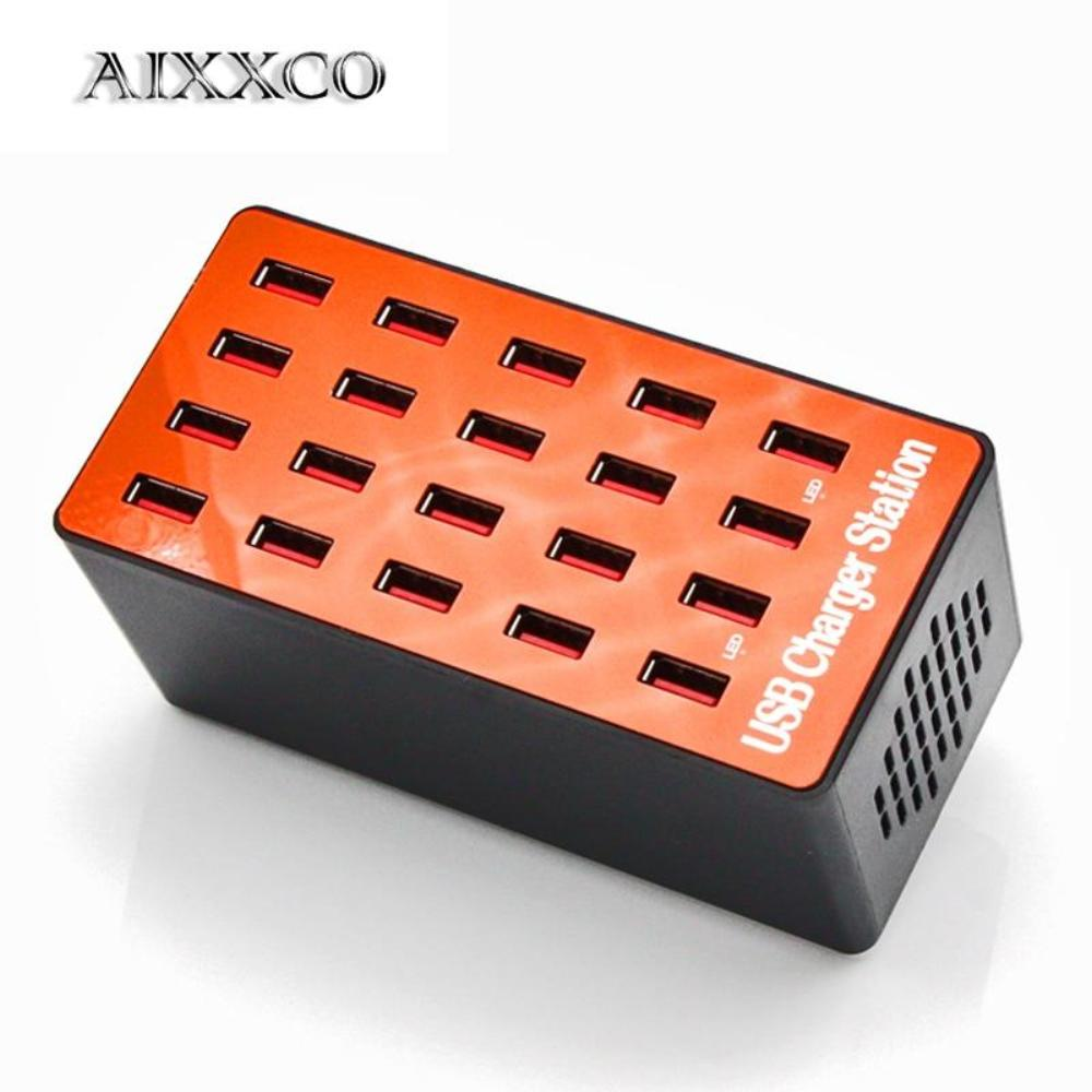 AIXXCO 20-Port 18A 90W Multi USB Charger HUB LED USB Charging Station Dock Universal Mobile Phone Desktop Wall Home Chargers
