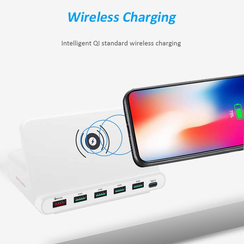 BOTD Multi USB Port Wireless Charger 60W Charging Station Quick Charge 3.0 Holder For iPhone X Samsung Huawei Nexus Mi Adapter