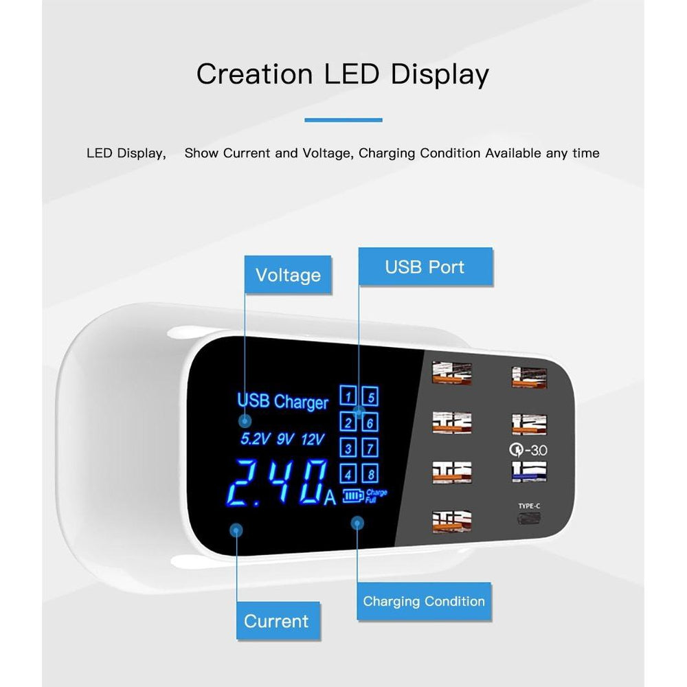 Portable Multi USB Charger Desktop Quick Charge 3.0 USB Charger Station Dock LED Display Smart USB Type C 8 Ports Charger Hub