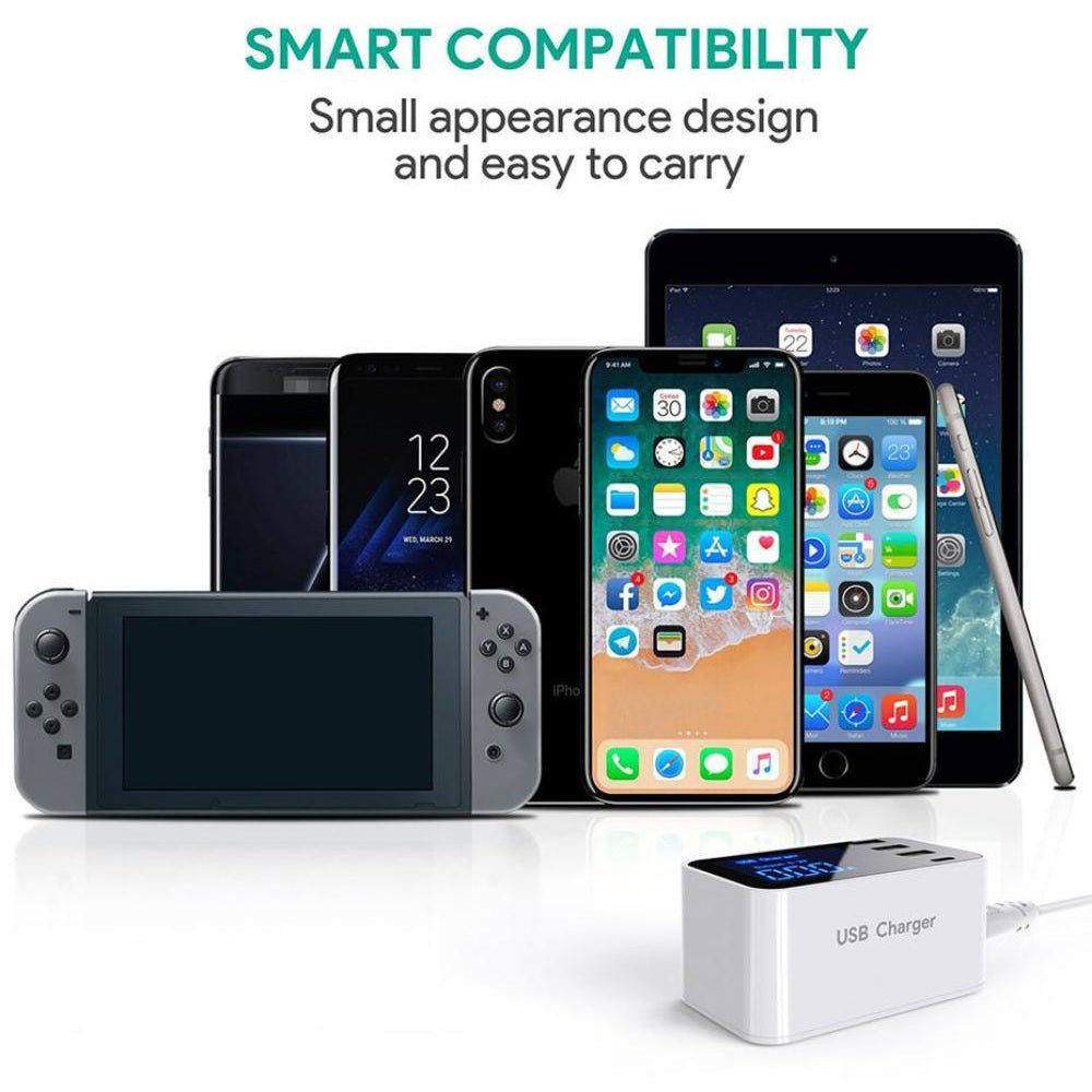 Smart Multi USB Type C Charger Station For Apple Samsung Huawei Tablet PC 4 Ports Charger Dock Display Desktop Travel Adapter
