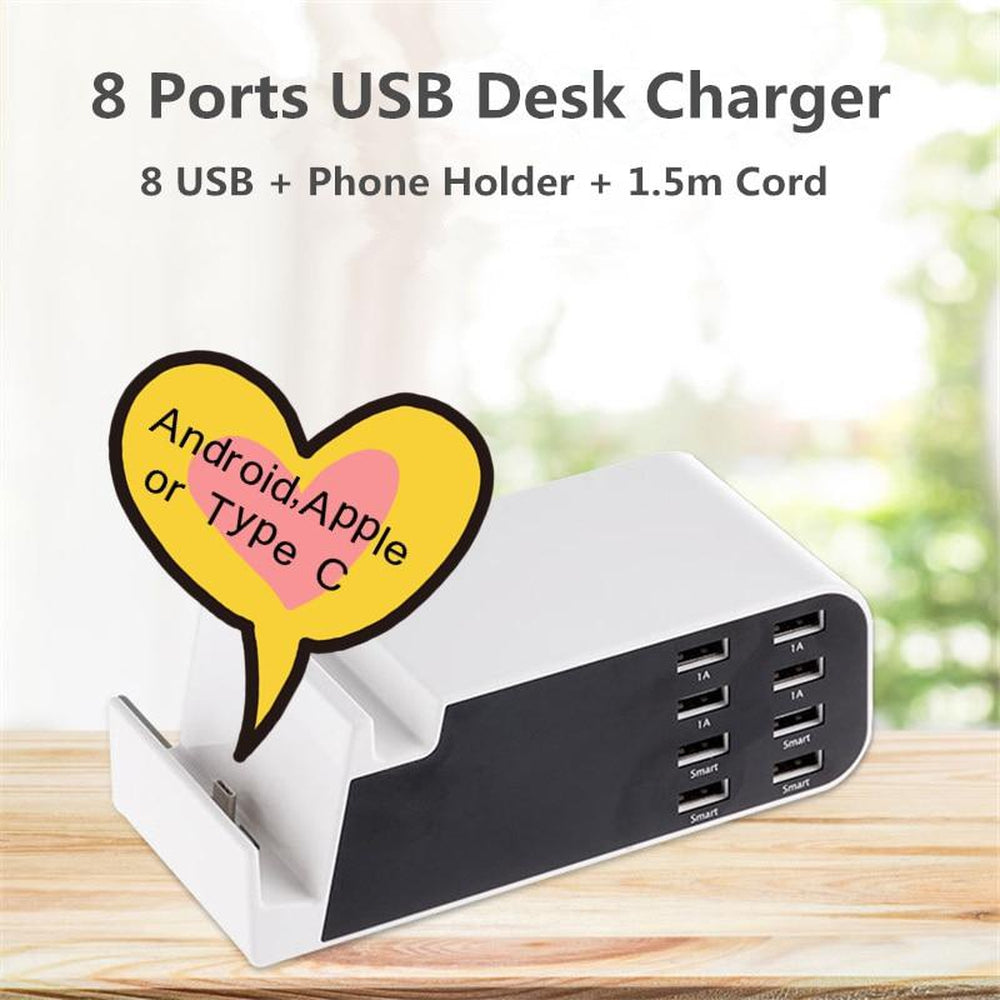 Go2linK USB 8 Ports Spliter Multi Device Home Charging Dock Station Tablet Stand