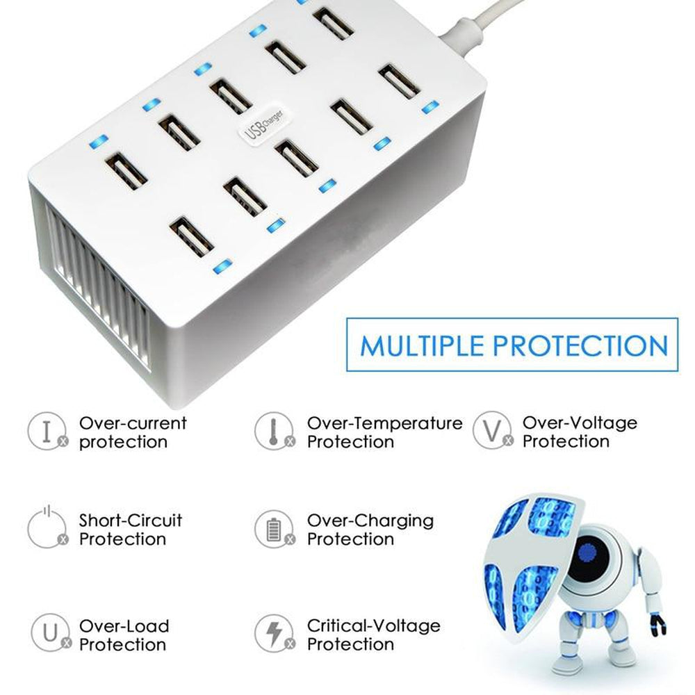 10Ports USB Hub Universal Multi Device Charging Station Fast Charger Docking 40W for iPhone iPad Samsung Galaxy LG Tablet PC HTC