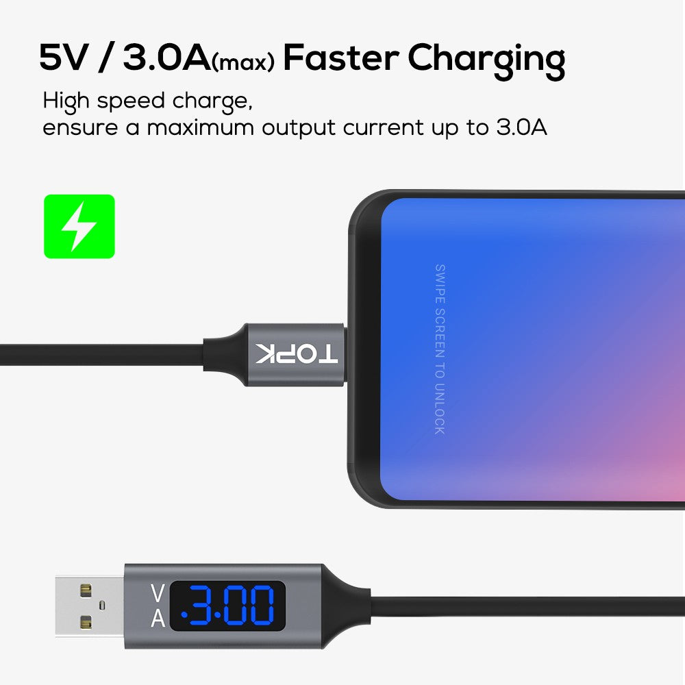 USB Type C Cable,Voltage and Current Display Type-C Fast Charging Data Sync USB-C Cable for Xiaomi A1 Samsung S9