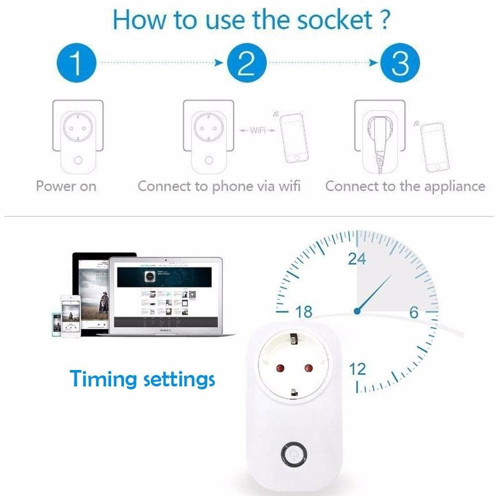 WiFi Smart Plug, Wireless Remote Control Socket with Timing Function, Compatible with Alexa and Google Home