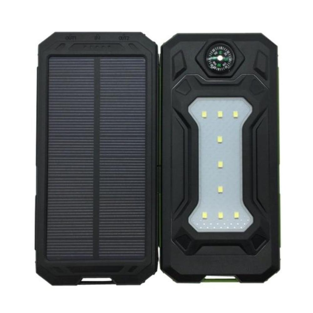 Solar Power Bank Real 20000 mAh Dual USB External Waterproof Polymer Battery Charger
