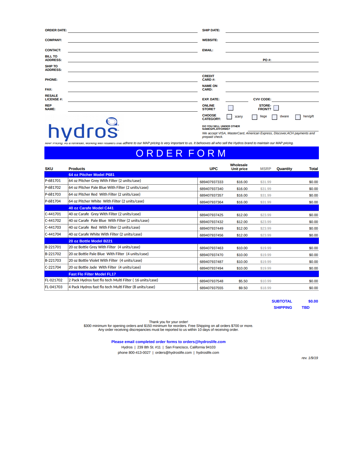 Hydros Wholesale Order Form