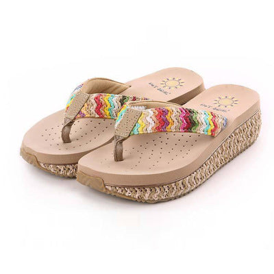 Summer new ladies sandals and slippers, wedges, flip-flops, beach casual slippers, women's word drag - The Sweetest Tee