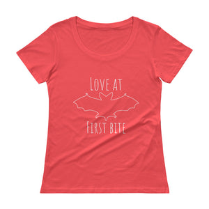 LOVE AT FIRST BITE Ladies' Scoopneck Tee (6 colors) - The Sweetest Tee