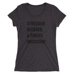 STRESSED BLESSED & COFFEE OBSESSED Tri-Blend Tee (13 colors) - The Sweetest Tee
