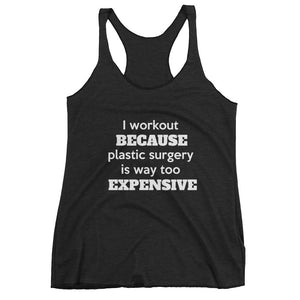I WORKOUT BECAUSE PLASTIC SURGERY... Racerback Tank (6 colors) - The Sweetest Tee