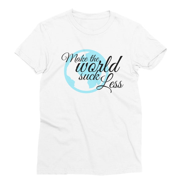 MAKE THE WORLD SUCK LESS Globe Cotton Tee (2 colors) - The Sweetest Tee