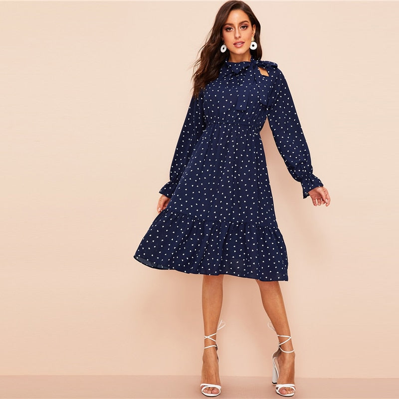 Vintage Navy Tie Neck Heart Print Dress - The Sweetest Tee