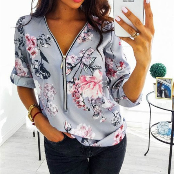 Casual V Neck Front Zipper Blouse (10 colors) - The Sweetest Tee