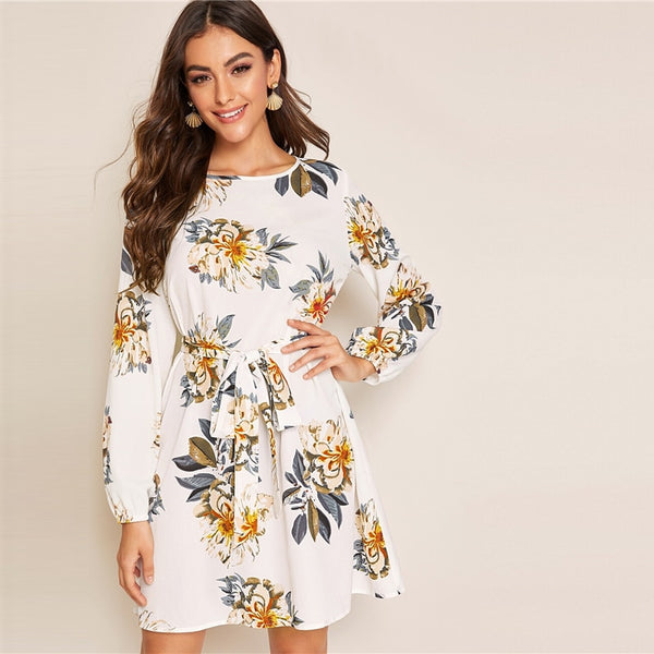 White Floral Print Keyhole Belted Dress