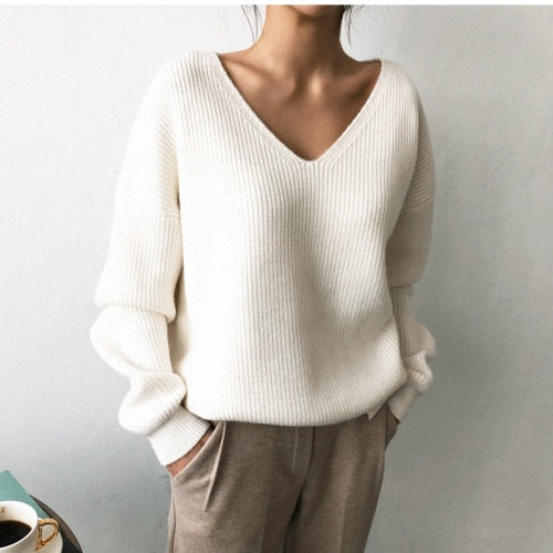 2019 Winter Ovreiszed Sweater Women V Neck Black White Sweater Irregular Hen Knitted Tops - The Sweetest Tee
