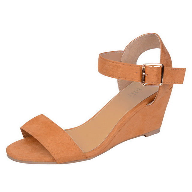 Women Shoes Platform Sandals Women Peep Toe High Wedges Heel Ankle Buckles Sandalia Espadrilles Female Sandals Shoes - The Sweetest Tee