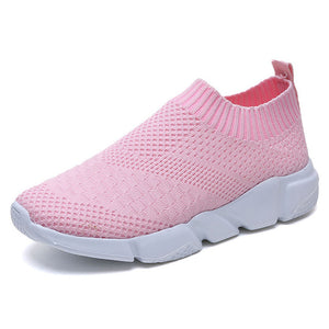 Women Shoes 2019 New Flyknit Sneakers Women Breathable Slip On Flat Shoes Soft Bottom White Sneakers Casual Women Flats Krasovki - The Sweetest Tee