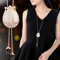Silver or Gold Elegant Opal Flower Tassel Long Necklace (2 colors) - The Sweetest Tee