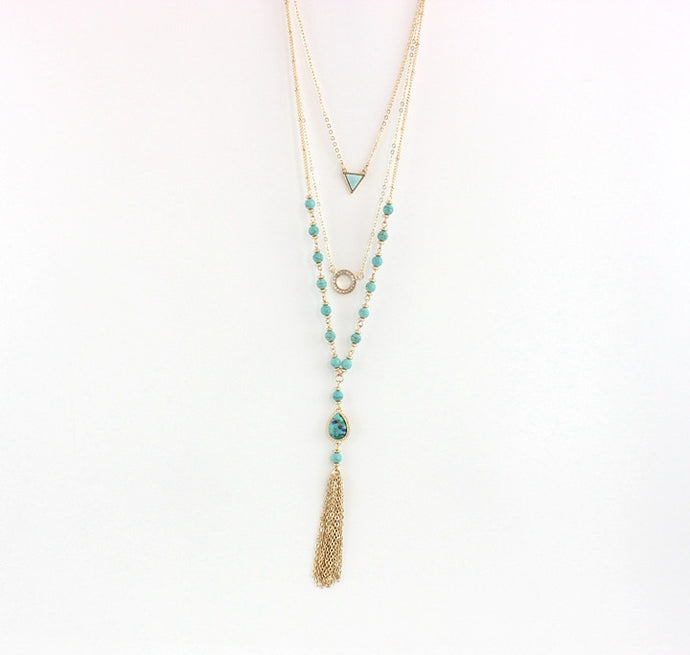 Turquoise Beads & Tassels Multilayer Statement Necklace - The Sweetest Tee