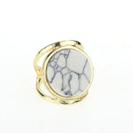 Turquoise Round Gold Plated Ring (2 colors) - The Sweetest Tee