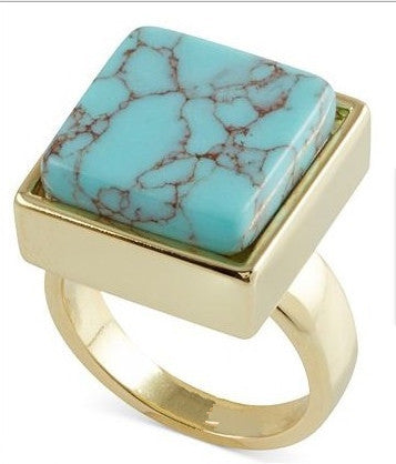 Square Turquoise Gold Plated Ring - The Sweetest Tee