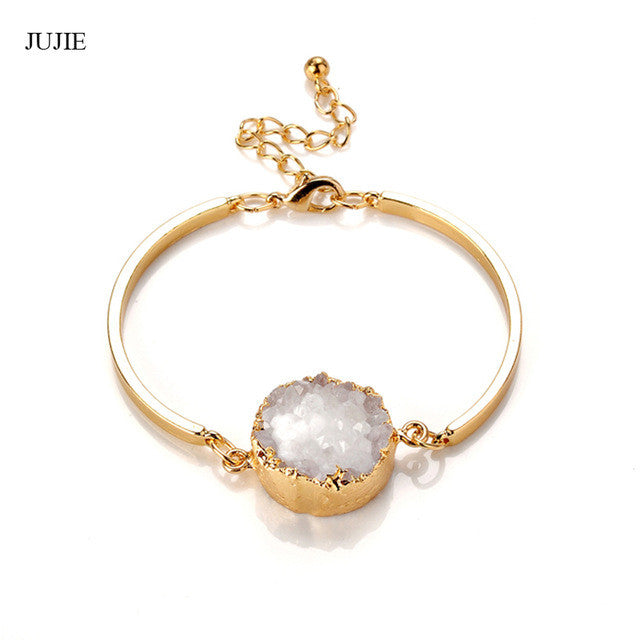 Natural Stone Druzy Gold Bracelet (3 colors) - The Sweetest Tee