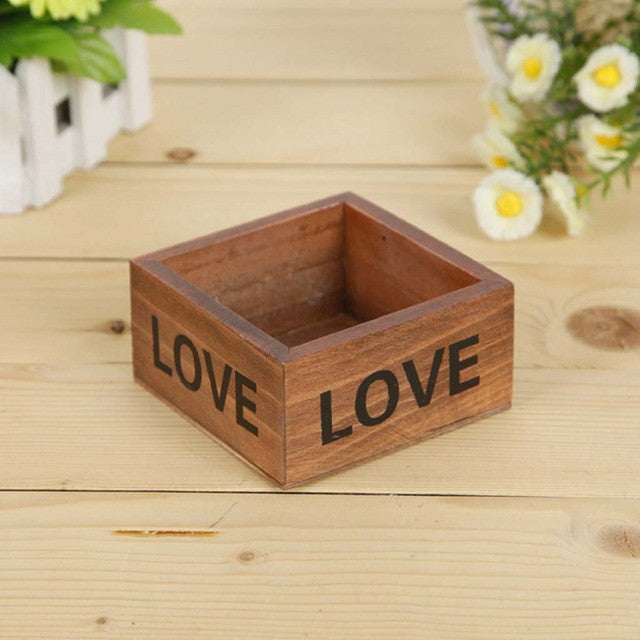 Decorative Rectangle Wood Flowerpot (8 designs) - The Sweetest Tee