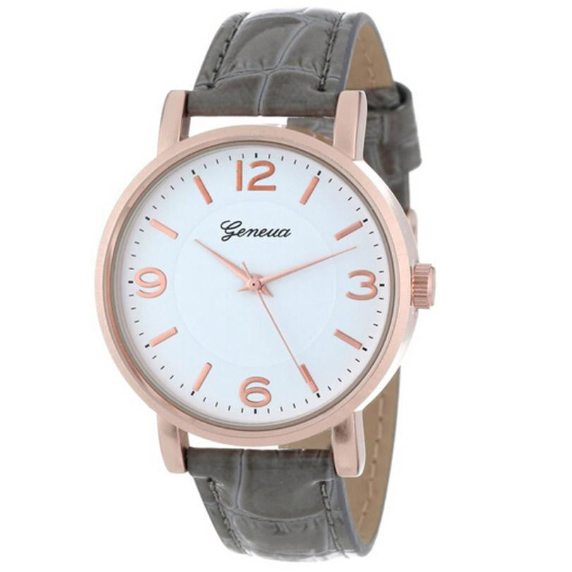 Women's Grey Leather Watch - The Sweetest Tee