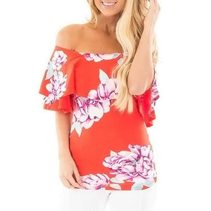 Sexy Off Shoulder Boat Neck Floral Blouse (2 colors) - The Sweetest Tee
