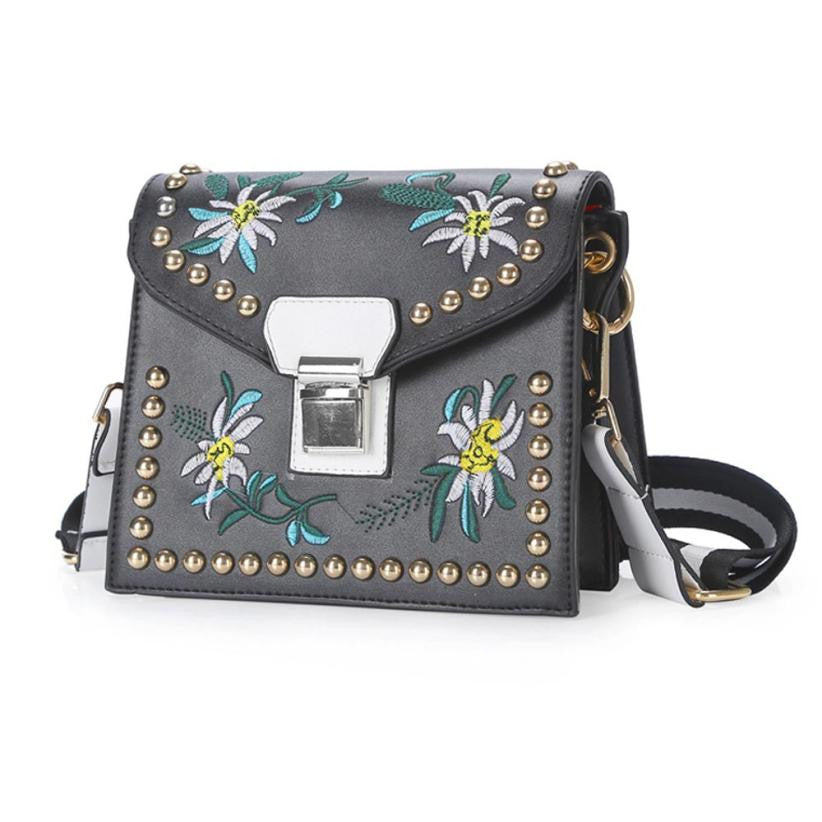 Embroidery Flower Leather Handbag (2 colors) - The Sweetest Tee