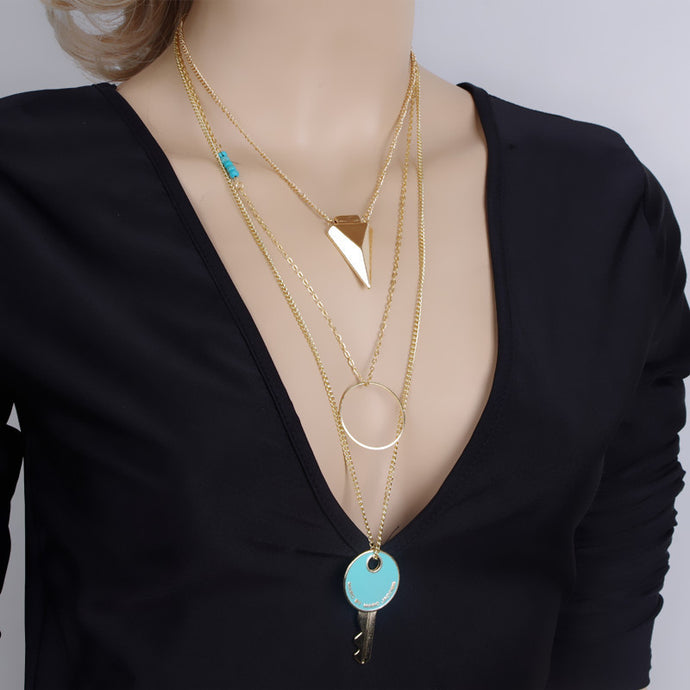 Multilayer Crystal Pendant Chain Statement Necklace - The Sweetest Tee