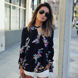 Chiffon Floral Printing Loose Long Sleeve Top - The Sweetest Tee
