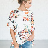 Floral Printing Short Sleeve Flare Top - The Sweetest Tee