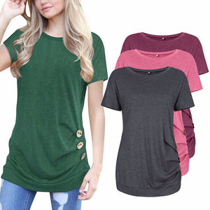 Short Sleeve Loose Button Tunic (4 colors) - The Sweetest Tee