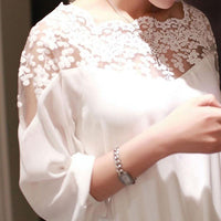 White Three Quarter Sleeve Lace Blouse - The Sweetest Tee