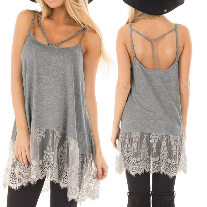 Lace Backless Sleeveless Sling Tunic - The Sweetest Tee