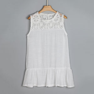 White Lace Sleeveless Blouse - The Sweetest Tee