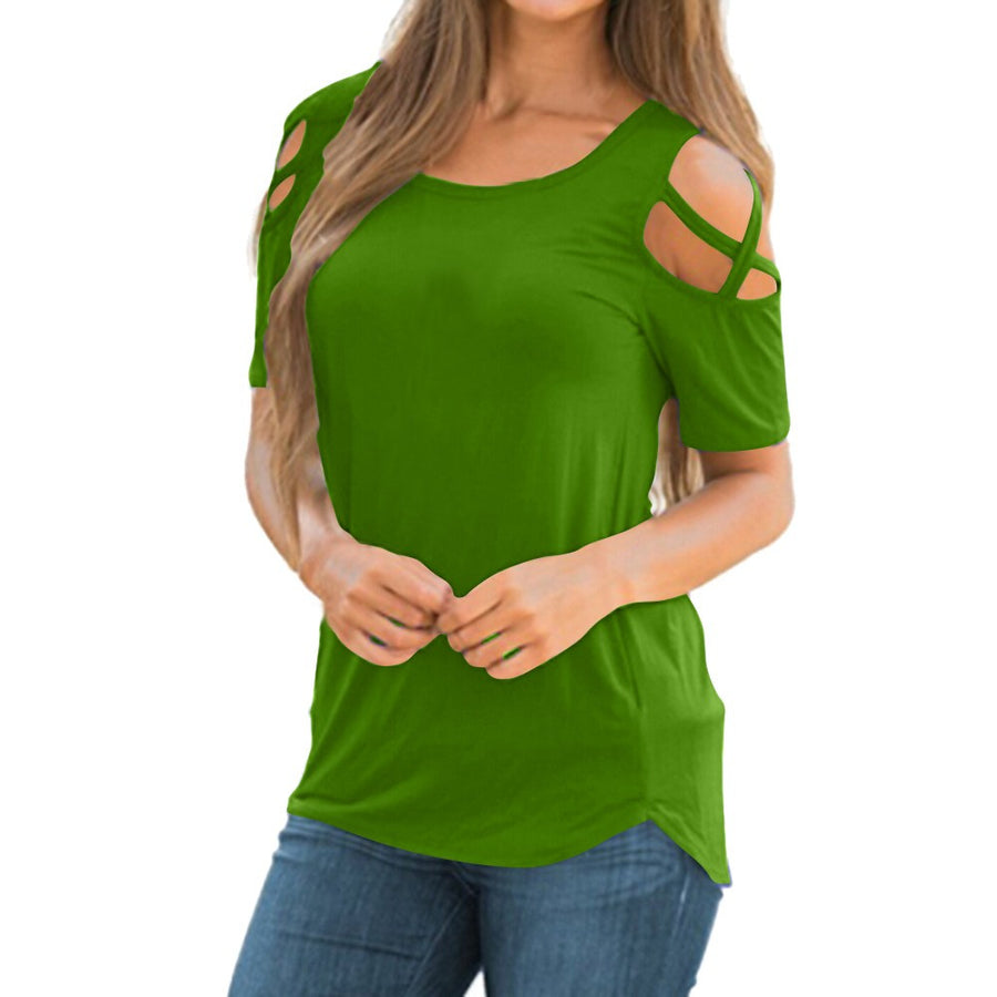 Short Sleeve Strappy Cold Shoulder Tunic (3 colors) - The Sweetest Tee