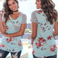 Stripe Short Sleeve Flower Tee - The Sweetest Tee