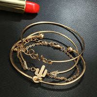 Bohemian Geometric Metal Chain Bracelets - Set of 4 - The Sweetest Tee