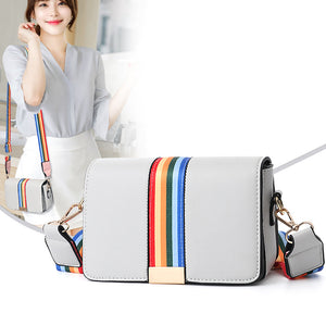 Small Square Rainbow Width Strap Crossbody Bag (7 colors) - The Sweetest Tee
