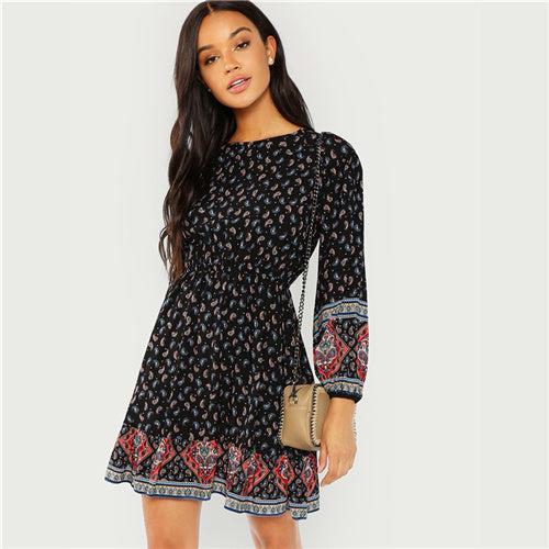 Black Boho Paisley Long Sleeve Dress - The Sweetest Tee