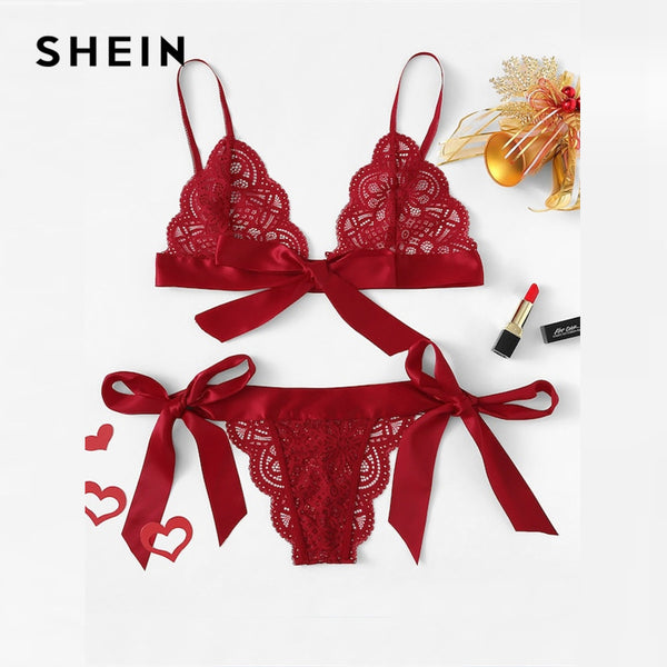 Red Lace Sexy lingerie Set - The Sweetest Tee