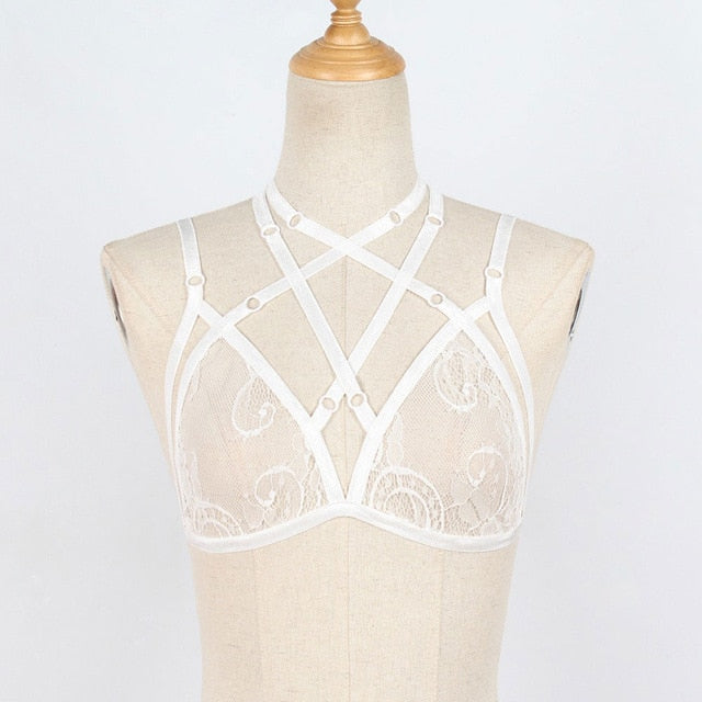 Mesh Hollow Strappy Bra - The Sweetest Tee