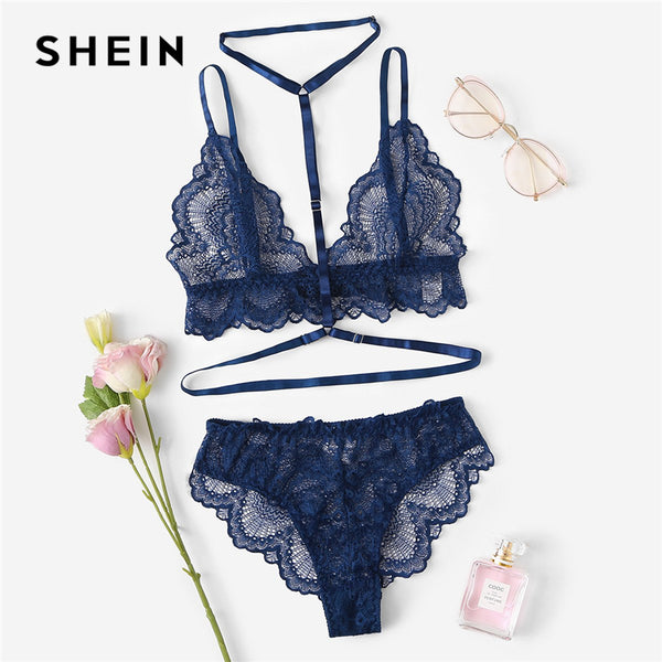 Navy Trim Lace Unlined Lingerie - The Sweetest Tee